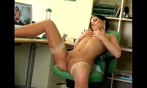 Mili masturbates on touching snappy nylons
