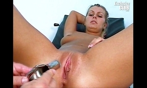 Blonde Bambi having slit gyno examined hard by age-old doctor