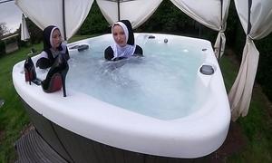 Yoke naughty nuns acquire wet close to dramatize expunge sexy tub