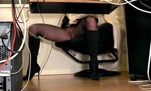 Below-stairs desk hidden cam traduce