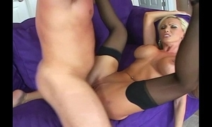 Busty tow-haired drilled here stockings