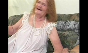 matured granny pretty good shagging coitus with soft-pedal horseshit on sofa
