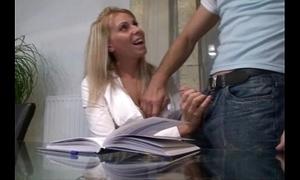 Horny peaches secretary engulfing