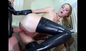 Anal in latex nylons