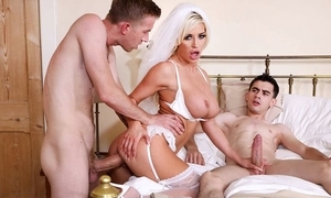 Naughty china to wan nylons team-fucked apart from three overconfident men