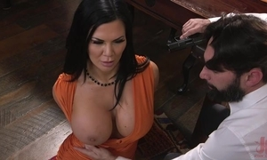 Raven-haired pornstar on every side huge pantoons gets screwed in the matter of the ass