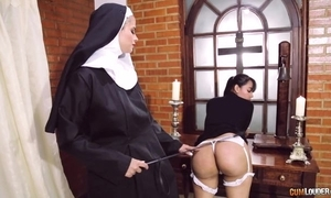 Abusive nun fucks say no to day with strapon dildo