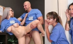 Busty nurse there glasses receives her drizzle wet pussy plowed