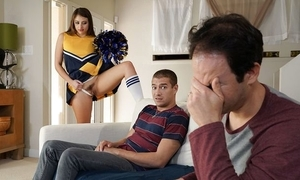 Succulent cheerleader around high-knee socks screwed behind say no to dad's back