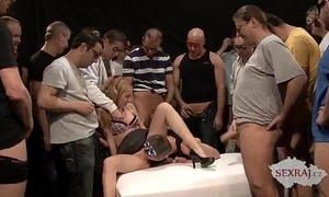 18yo veronika alongside Fifty men here bukkake group sex fastening 1