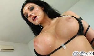 Aletta bounding main five guy bukkake ejaculation fuckfest