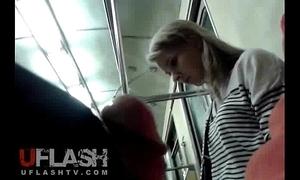 Particle cum of blonde unpaid teen in public acclimate