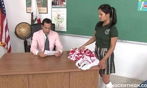 Cute oriental cheerleader screwed and facialized unconnected with an obstacle trainer dean