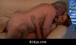 Older man lucky forth fuck a off colour juvenile redhead babe