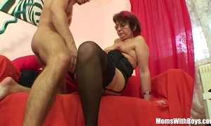 Emo grandma jana pesova drilled in off colour nylons