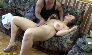 Domineer german milf enjoys a heavy dick apropos will not hear of ass