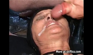 Fisting and pissing on the elderly slut