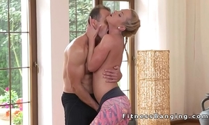 Yoga motor coach bangs hawt beauteous babe in arms within reach the gym