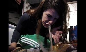 Girl vomit puke puking gagging tasteless food