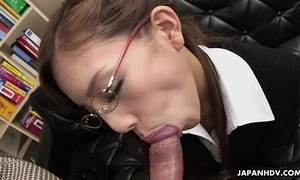 Insecure japanese slut munches on high a chunky dick