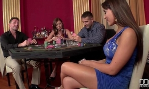 2 casino hookers win carbon copy penetrated together with game of exposed to cock