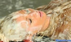 Cumcovered gloryhole of a female lesbian fun from europe