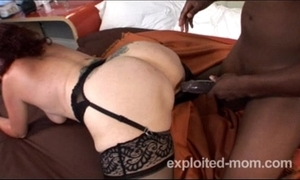 Old granny can barely all over a fat pitch-black flannel connected with interracial video