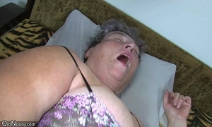 Old chubby mom teaches will not hear of chubby younger doll masturbating compliantly by sextoy