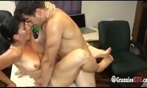 Horn-mad gilf brunette satisfies their way younger associate