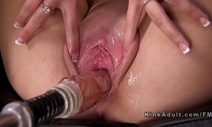 Sexy flaxen-haired widens vagina be required of shagging machine