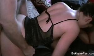 Duo gorgeous hotties gangbang party